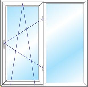 پنجره دو لنگه دو حالته مدل 1