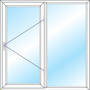 پنجره دو لنگه تک حالته مدل 1