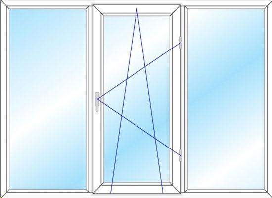پنجره سه لنگه دو حالته